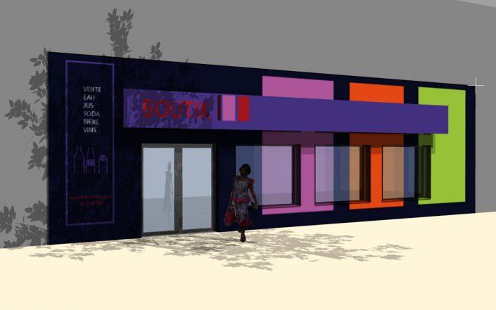 design espace / concept de magasin de proximité béninois / Piamarket
