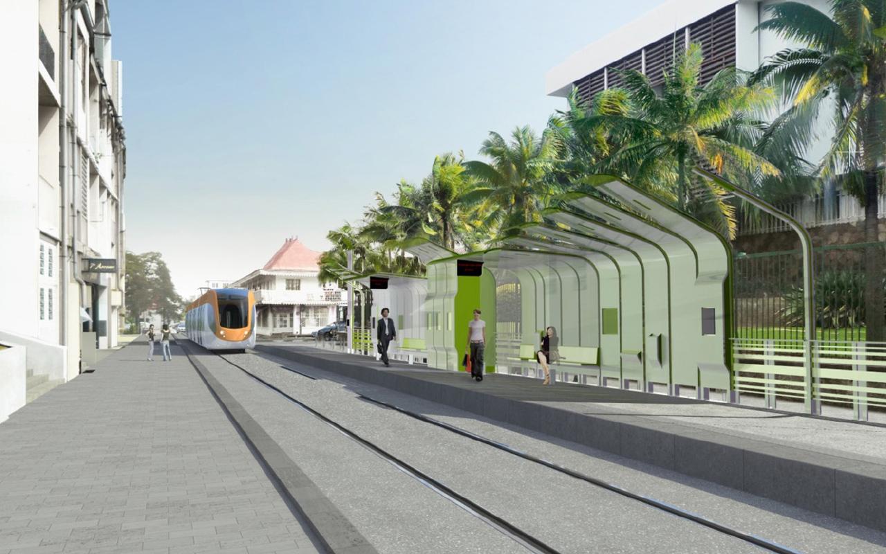 design espace urbain / station de tramway Iles de la Réunion /concours